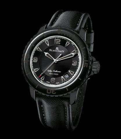 Wszystkie Czarne Repliki Zegarków Blancpain Fifty Fathoms PVD Ze Stali Nierdzewnej